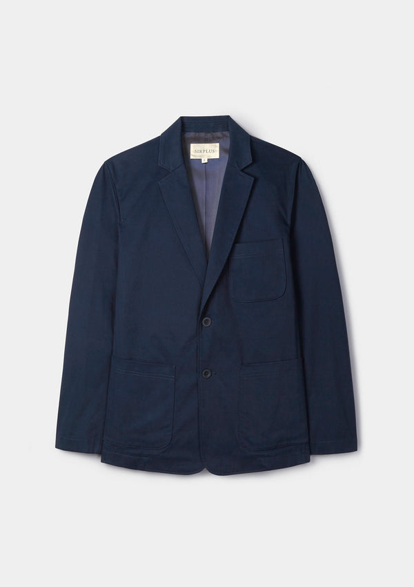 Navy Brushed Cotton Blazer