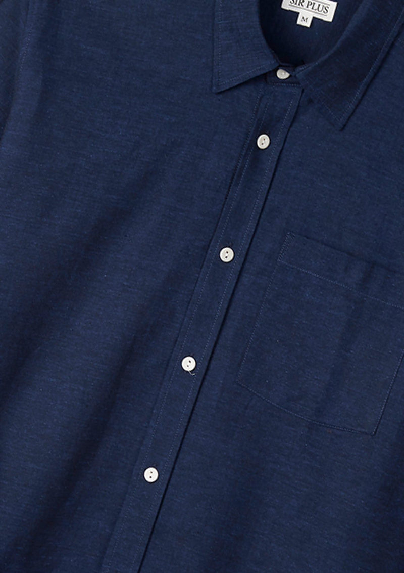 Navy Cotton Linen Shirt