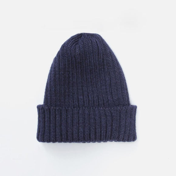 NAVY RIBBED BEANIE HAT - Alpaca Wool Blend