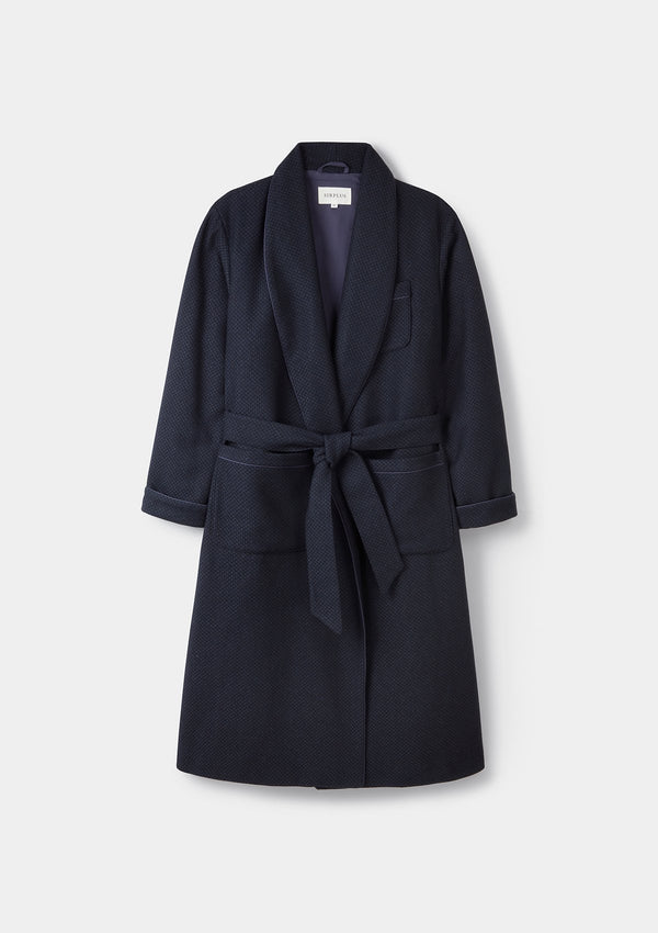 Navy Birdseye Wool Dressing Gown