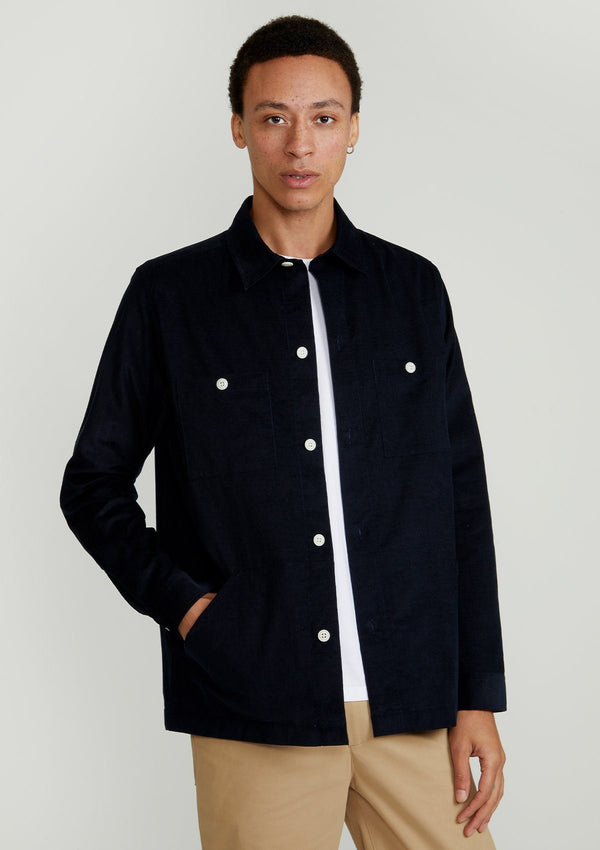 Navy Cotton-Corduroy Overshirt