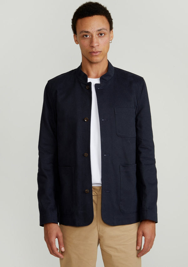 Navy Cotton Chore Nehru Jacket