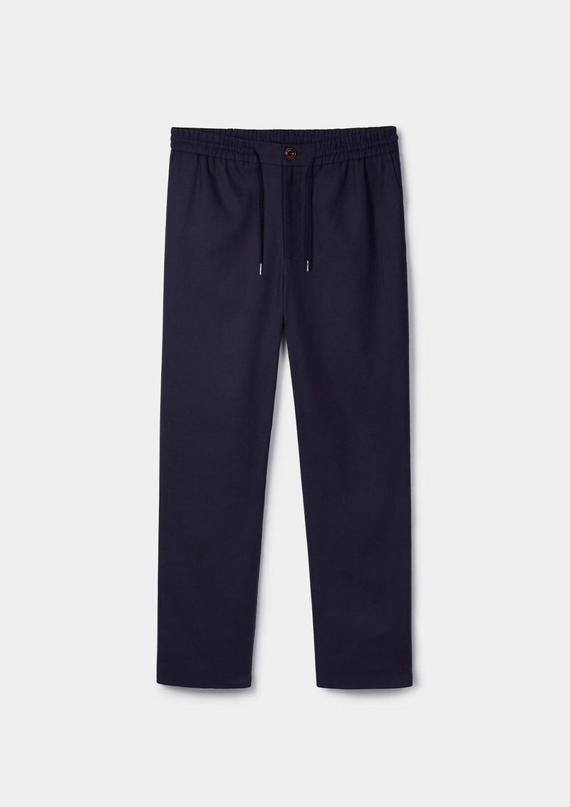Navy Arnad Cotton Linen Drawstring Trousers