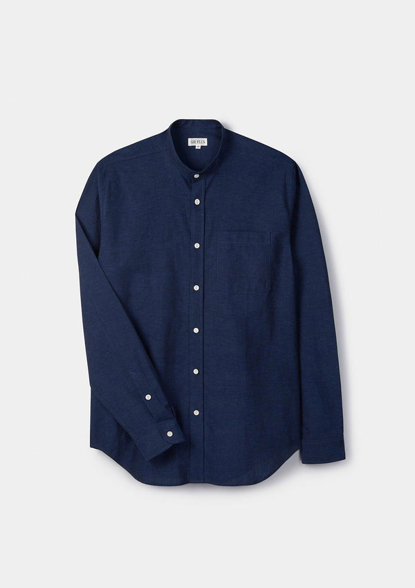 Navy Cotton Linen Grandad Shirt