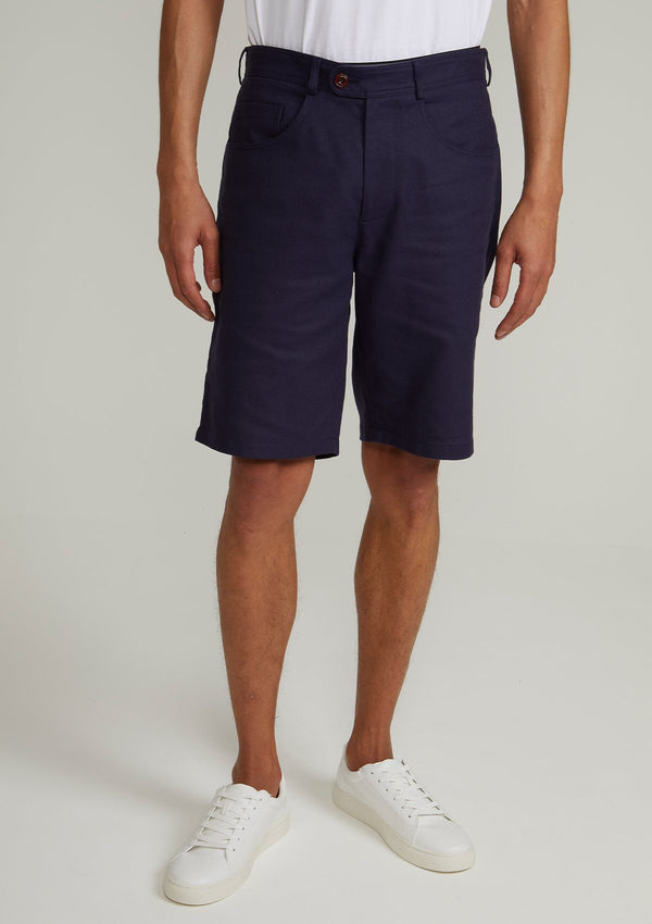 Navy Arnad Cotton Linen Shorts