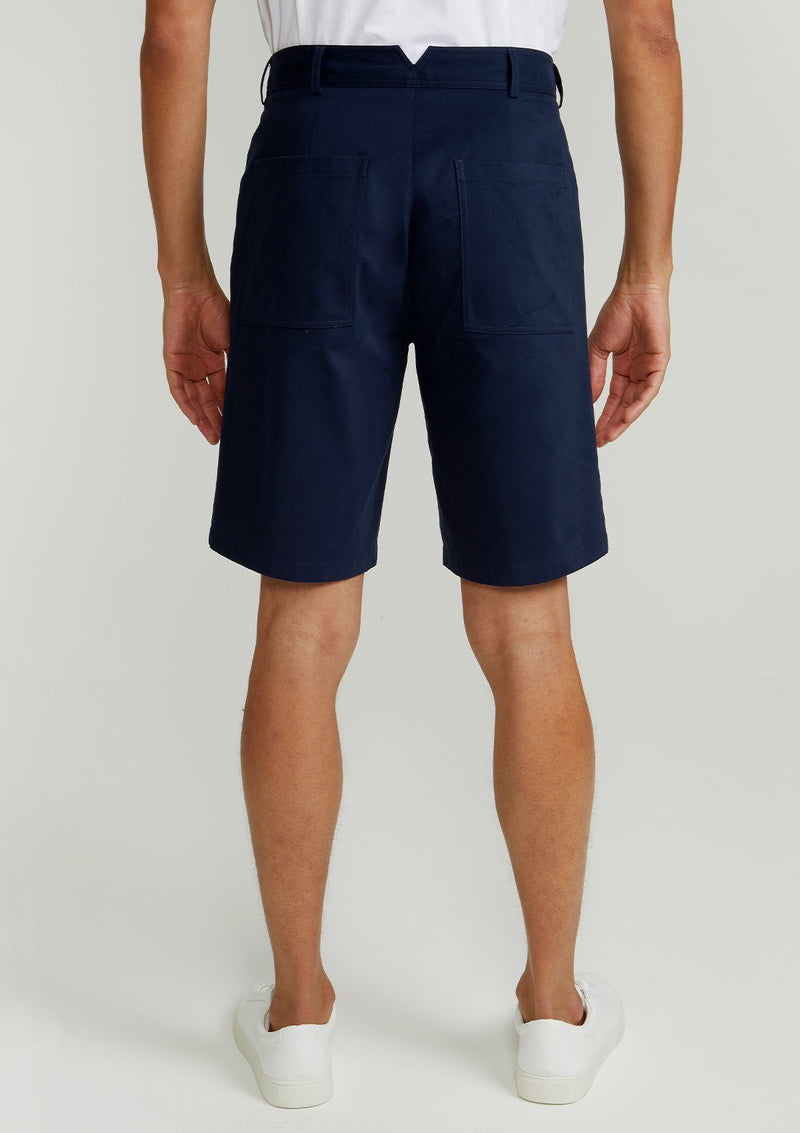Navy Brushed Cotton Shorts