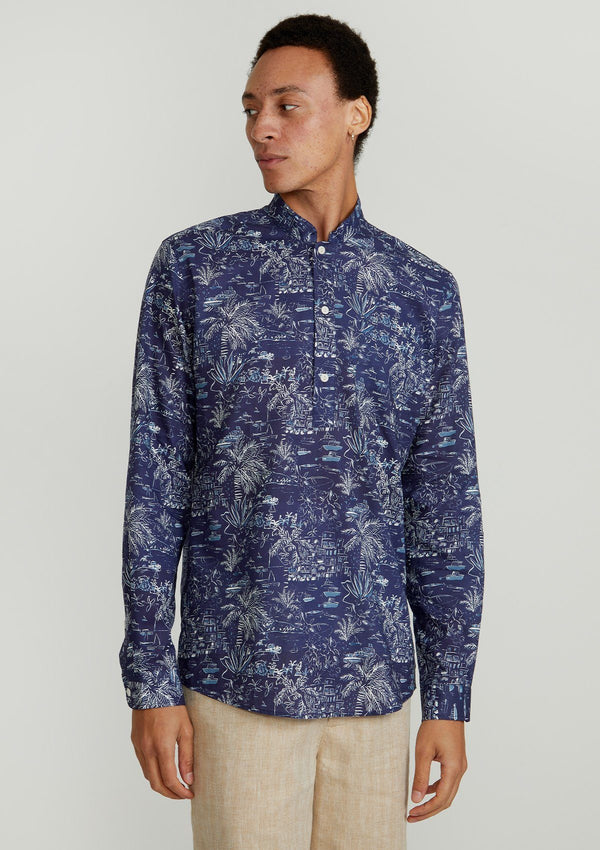 Navy Port Herbert Mandarin Kaftan - Made with Liberty Fabric
