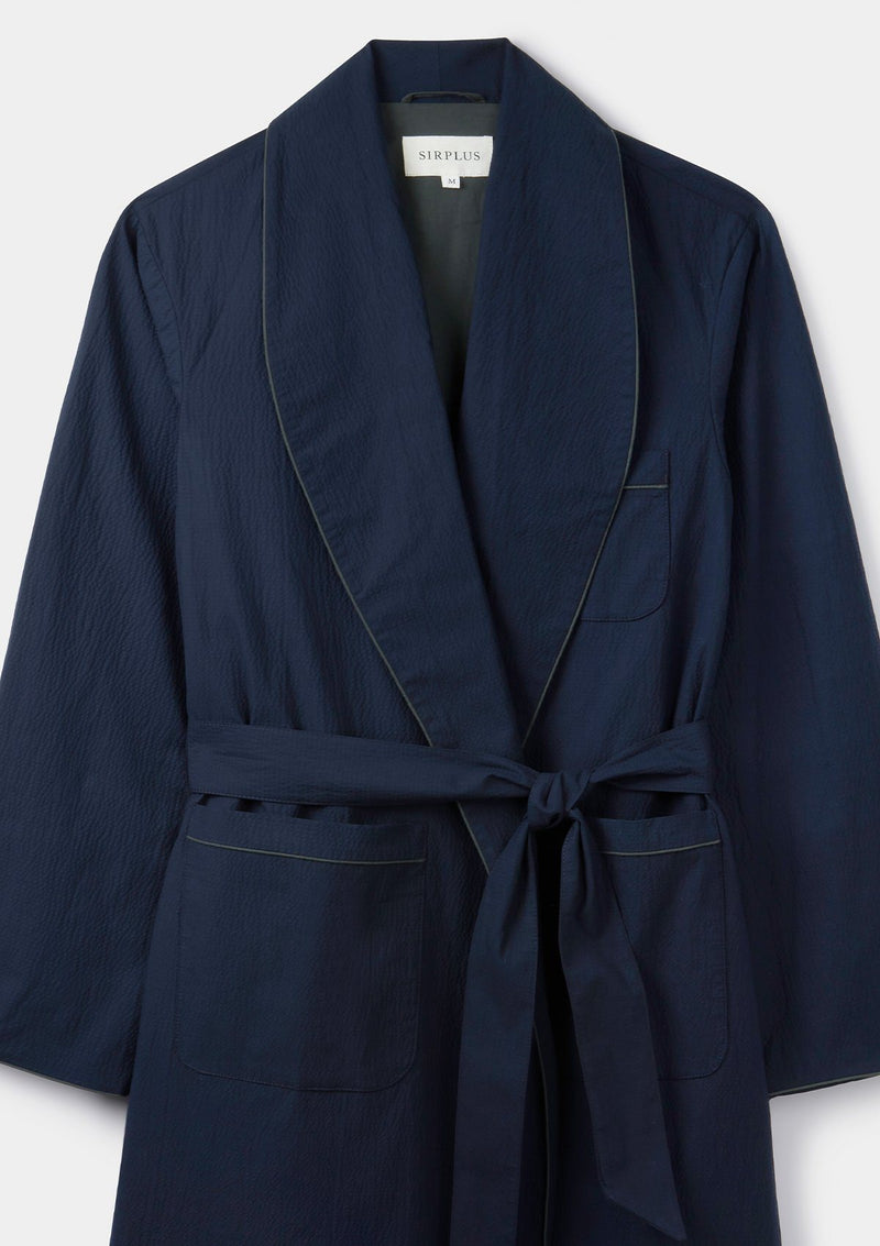 Navy Seersucker Dressing Gown