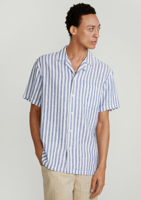 Navy Stripe Cuban Shirt