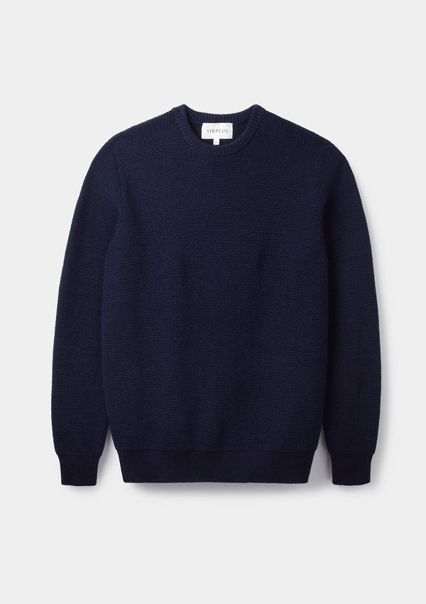 Navy Textured Crew Neck Jumper