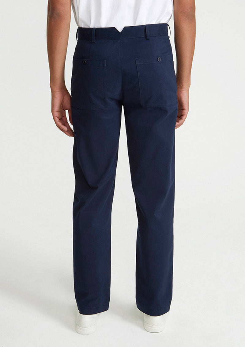 Navy Brushed Cotton Chinos
