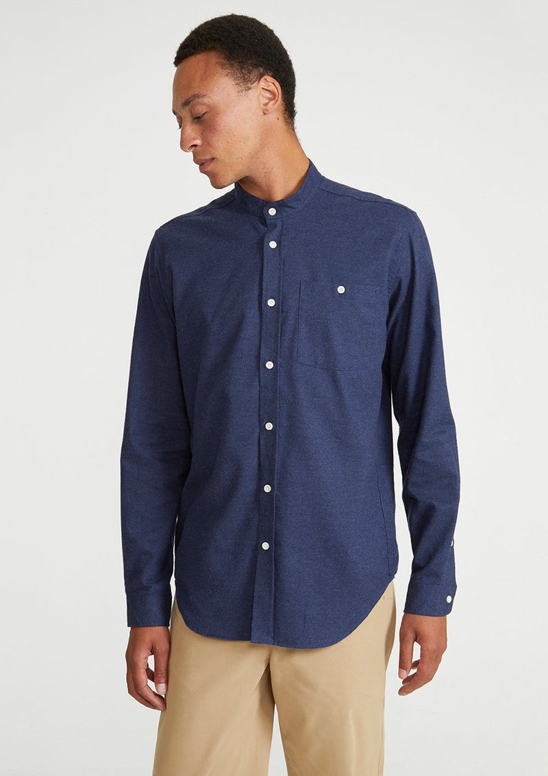 Navy Cotton Cashmere Grandad Shirt
