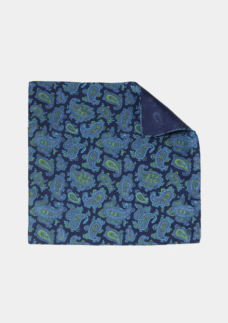 Navy & Green Paisley Pocket Square - SIRPLUS