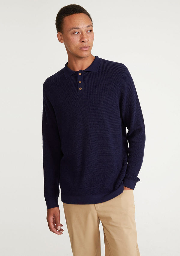 Navy Textured Knit Long Sleeve Polo
