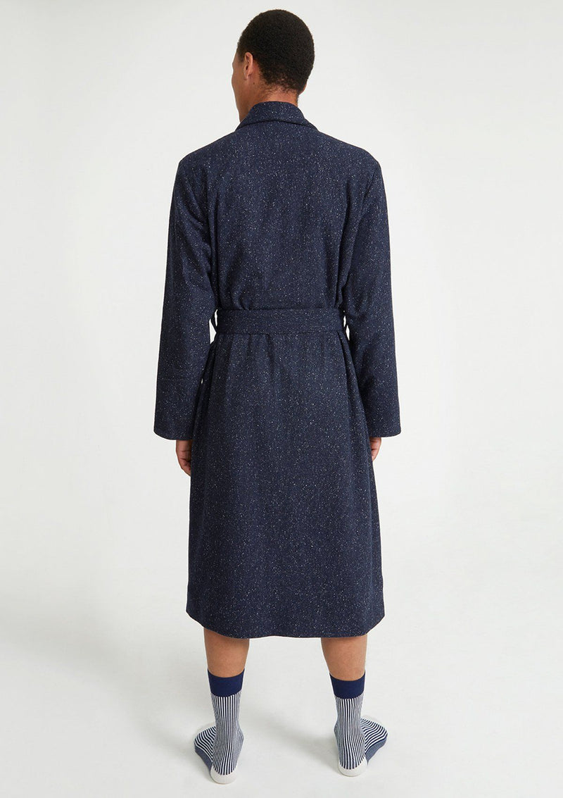 Navy Twilight Wool Dressing Gown