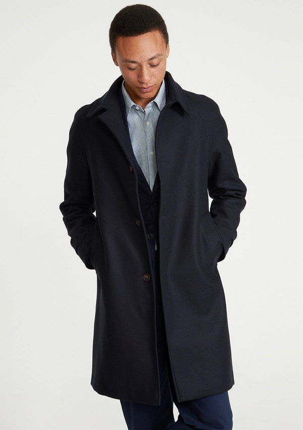 Navy Twill Wool Overcoat