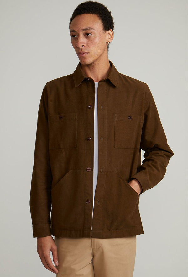 Dark Olive Brushed Cotton Overshirt