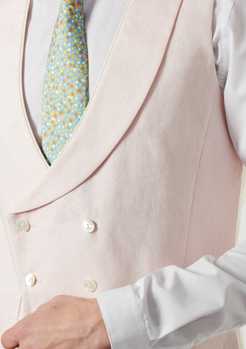 Pale Pink Shawl Lapel Double Breasted Waistcoat