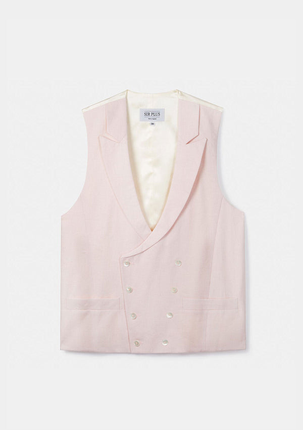 Pale Pink Peak Lapel Double Breasted Waistcoat