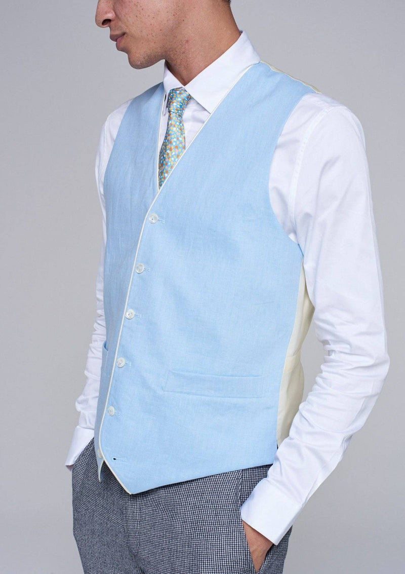 Pale Blue Single Breasted Waistcoat - Linen With Piping - SIRPLUS