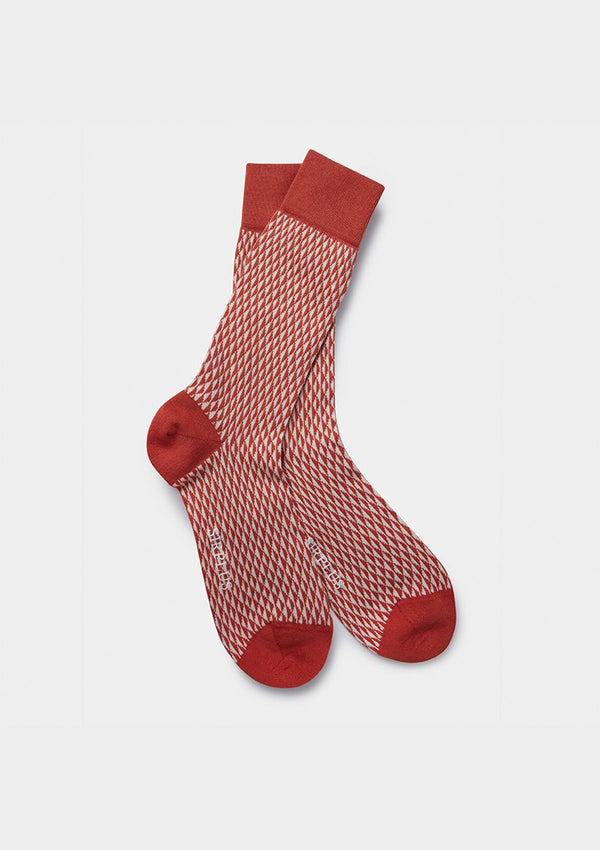 Rust Grid Organic Cotton Socks