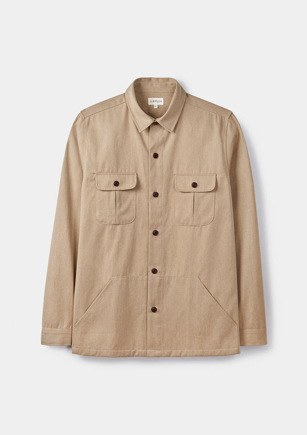 Sand Cotton Twill Overshirt