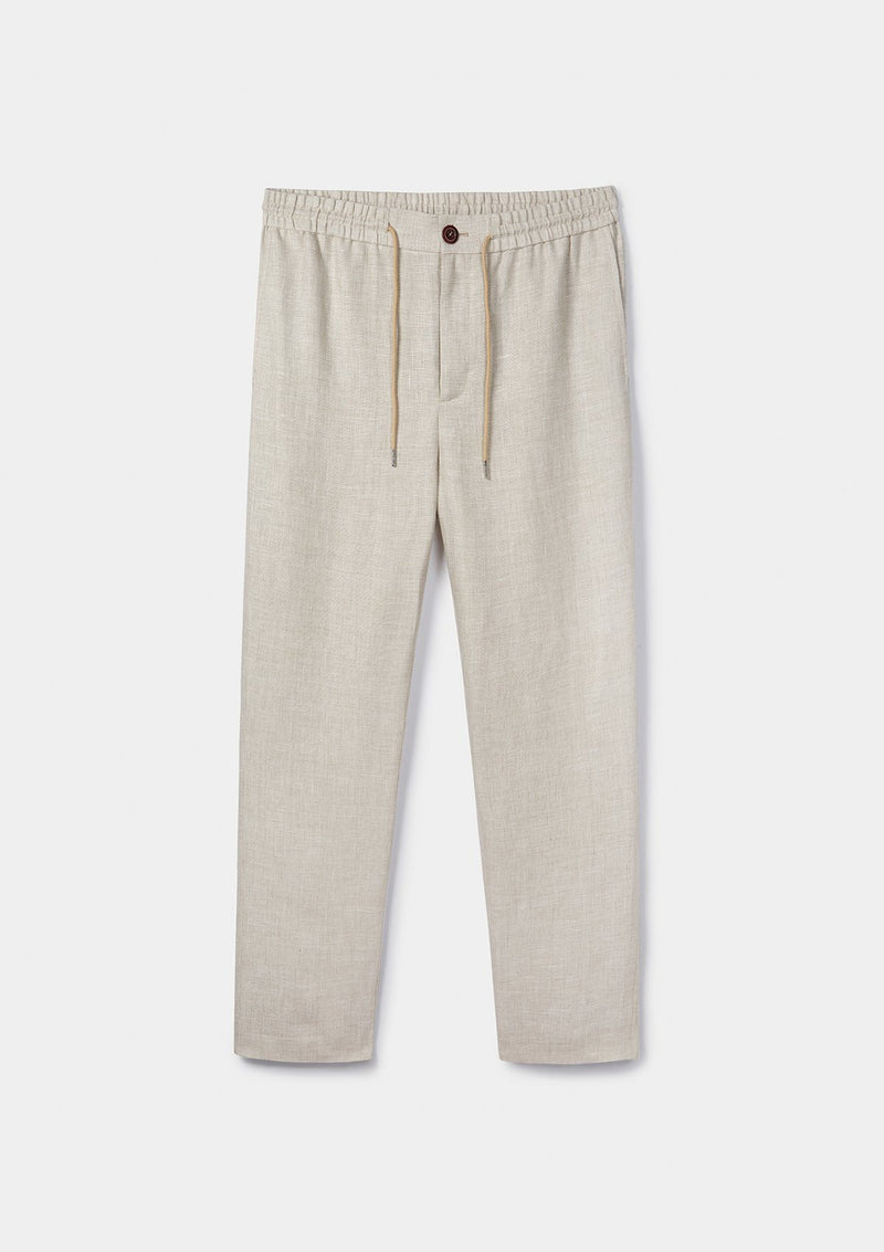 Sand Linen Drawstring Trousers