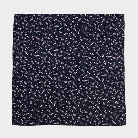 NAVY SAXOPHONE POCKET SQUARE - 100% Italian Silk