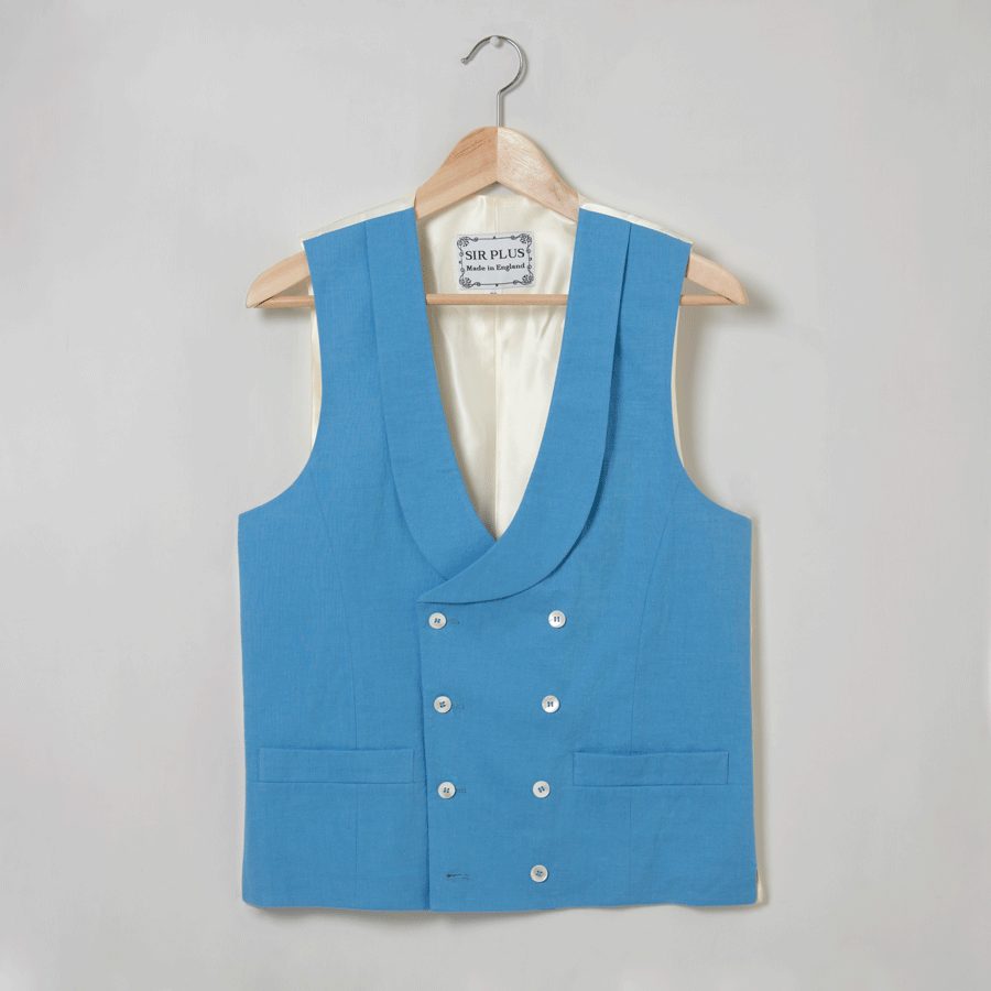 Azure Blue Double Breasted Waistcoat - 100% Pure Linen, Double Breasted Waistcoats - SIRPLUS
