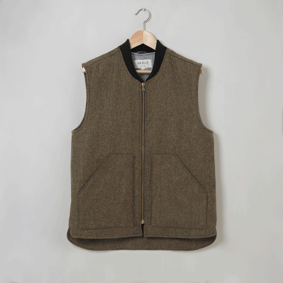 MOSS GREEN HERRINGBONE GILET - 100% Shetland Wool, Gilets - Sir Plus