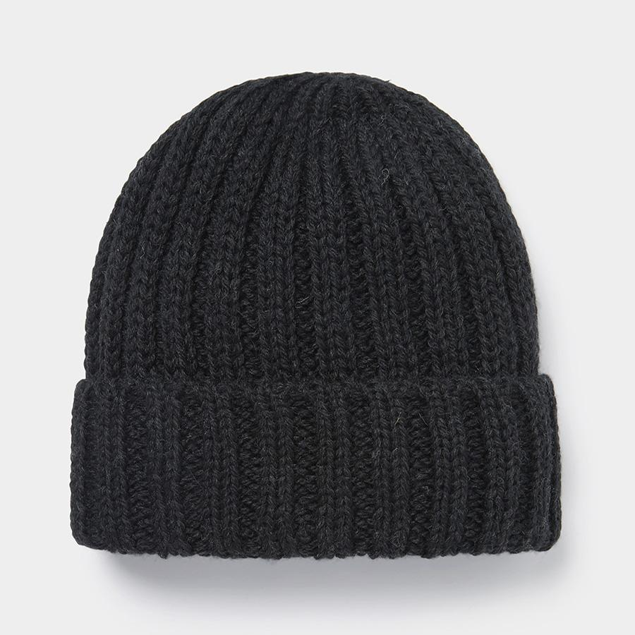 Charcoal Ribbed Merino Beanie Hat, Hats - SIRPLUS