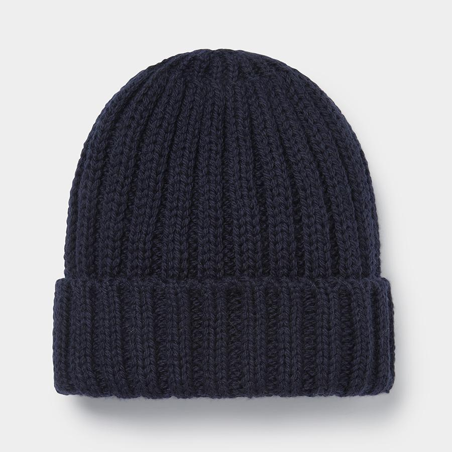 Navy Ribbed Merino Beanie Hat