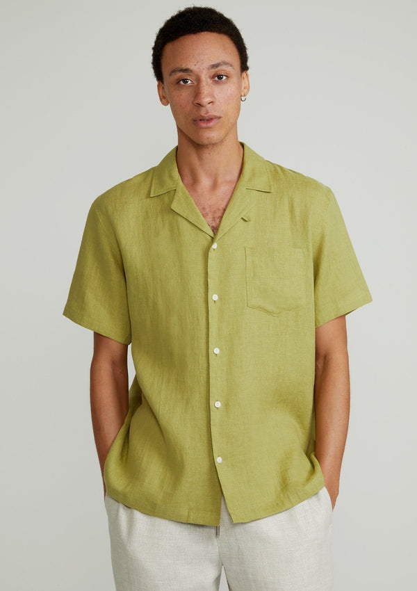 Sage Green Linen Cuban Shirt