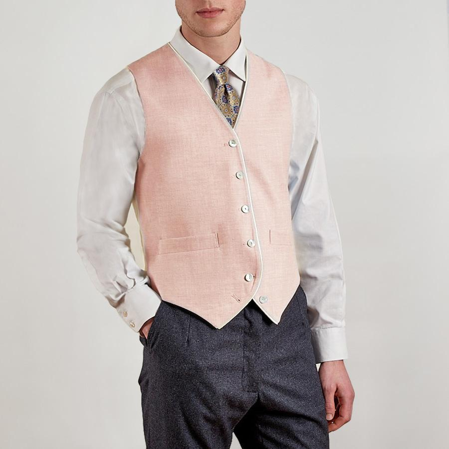 Pale Pink Single Breasted Waistcoat - Linen With Piping, Single Breasted Waistcoats - SIRPLUS