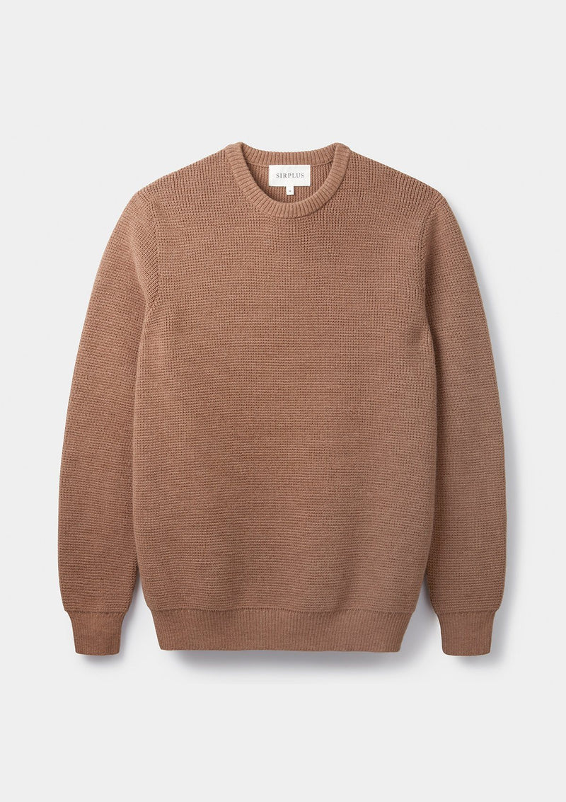 Tobacco Textured Crew Neck Jumper