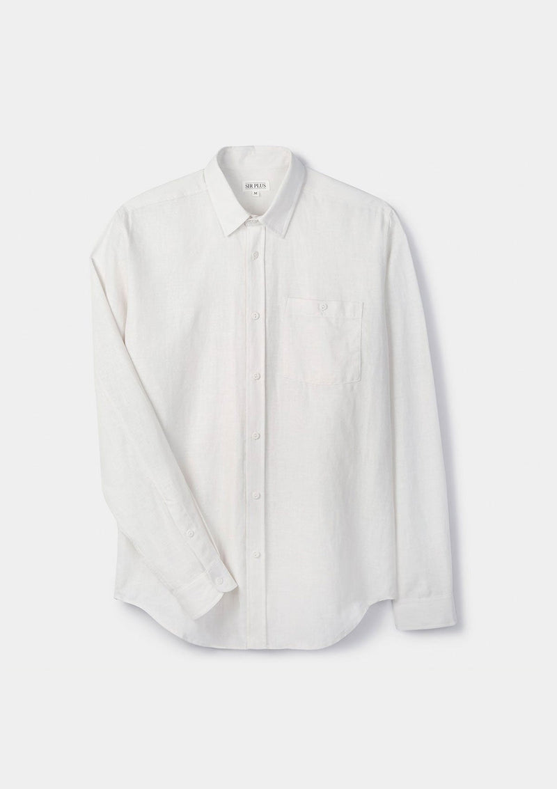 White Cotton Linen Shirt