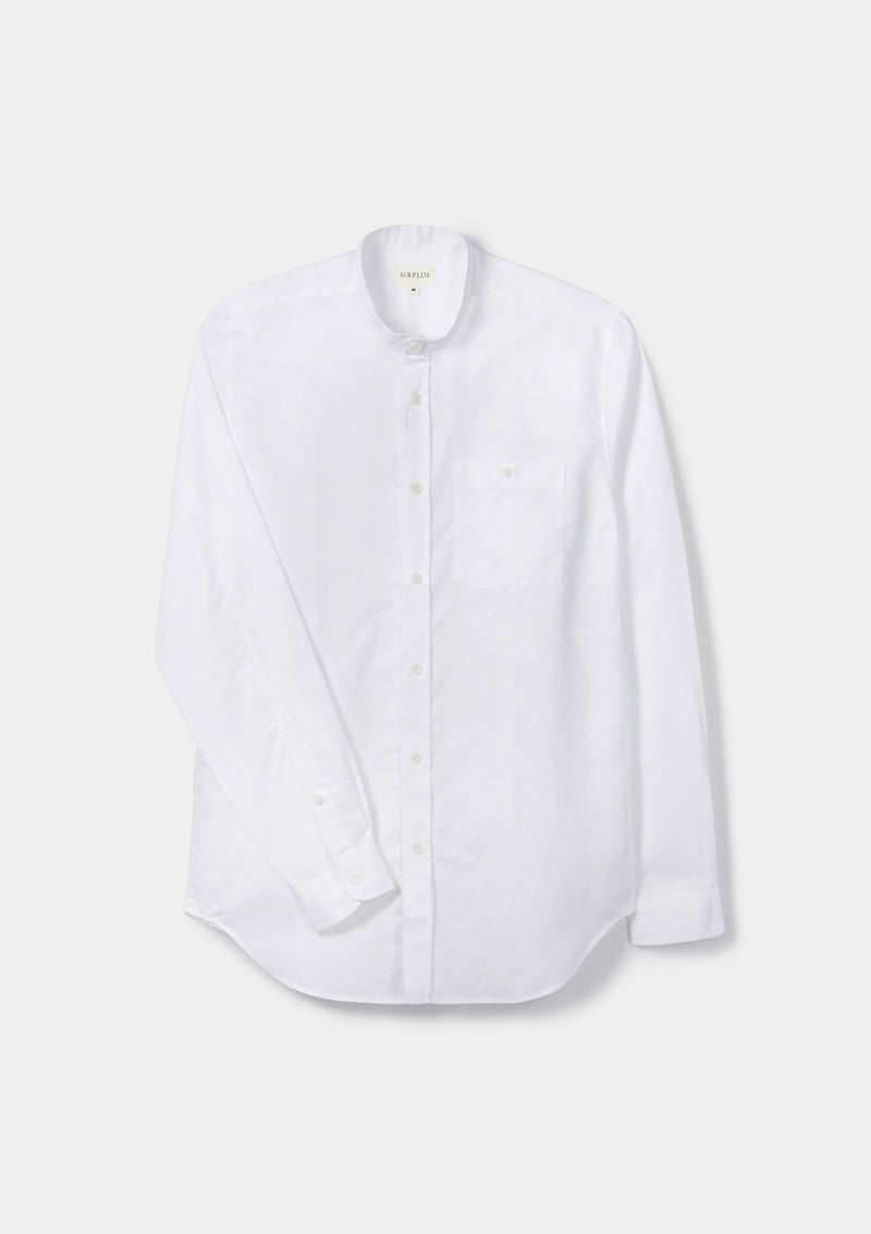 White Cotton Linen Grandad Shirt