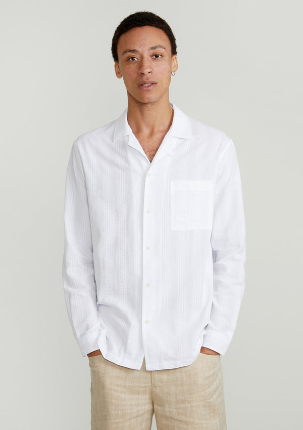 White Maui Long-Sleeved Cuban Shirt