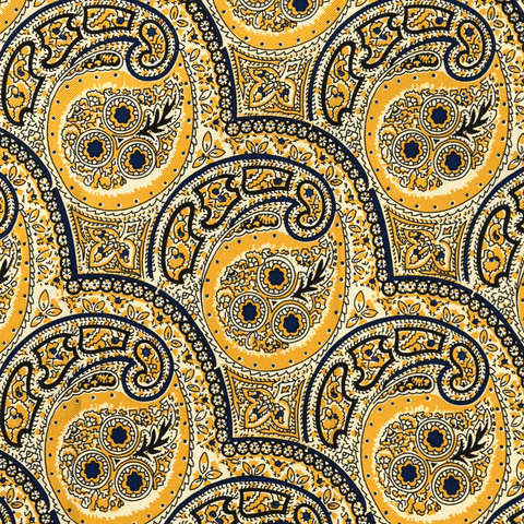 YELLOW PAISLEY POCKET SQUARE - Premium Italian Silk