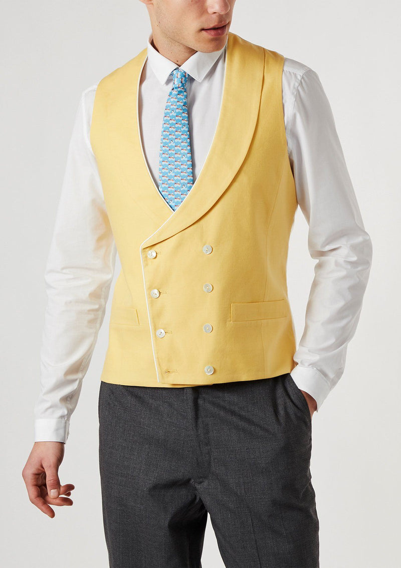 Yellow Shawl Lapel Double Breasted Waistcoat