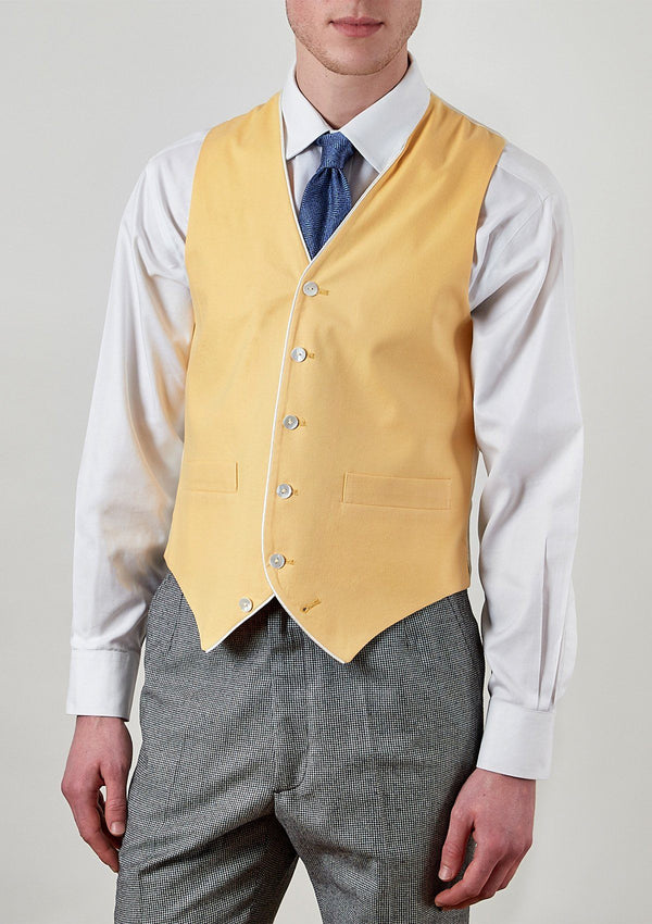 Yellow Single Breasted Waistcoat - With Piping - SIRPLUS