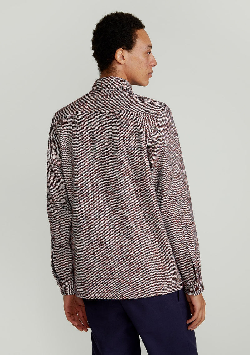 Zigzag-Weave Cotton Blend Overshirt