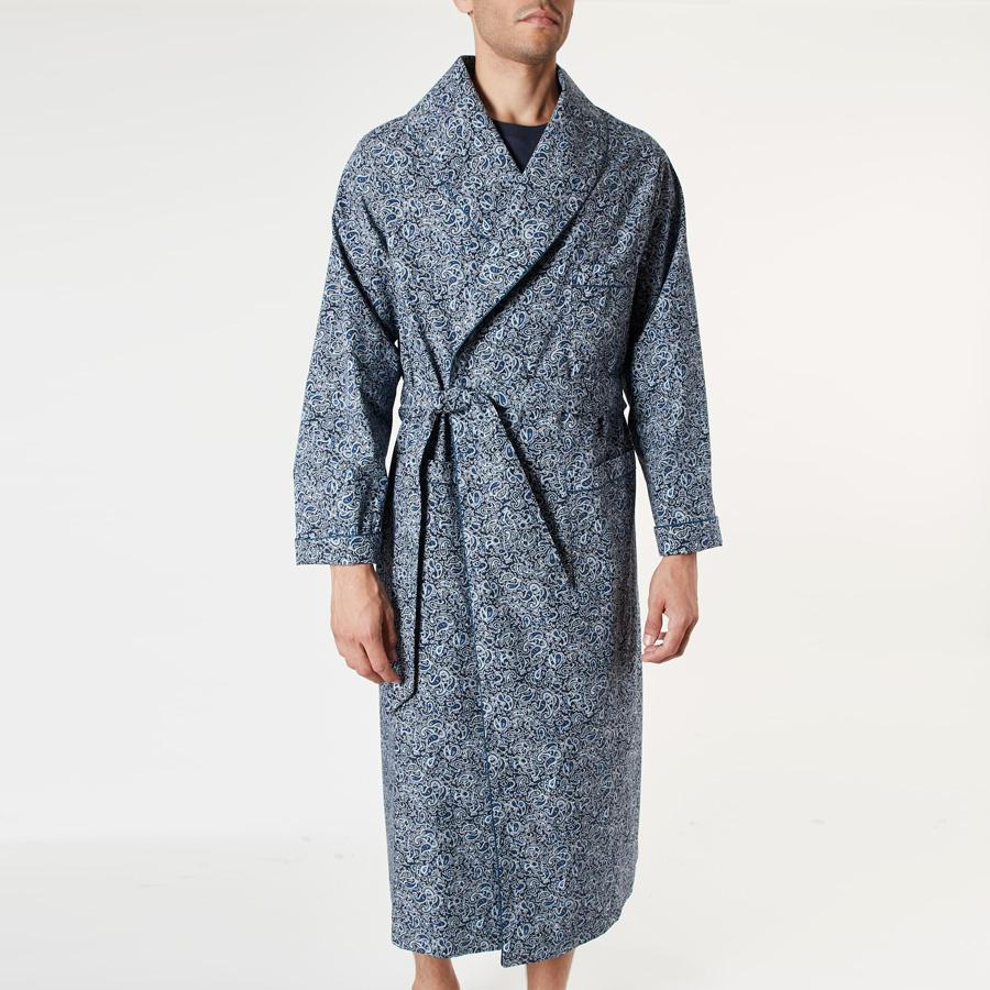 Blue Paisley Print Dressing Gown