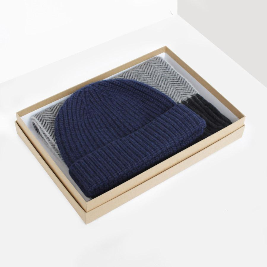Navy/Grey Cashmere Hat & Scarf Gift Box