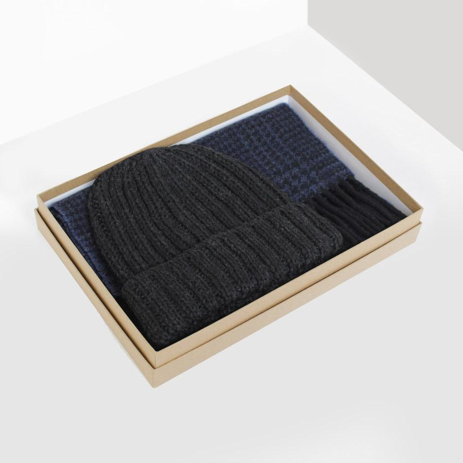 Grey/Navy Wool Hat & Scarf Gift Box