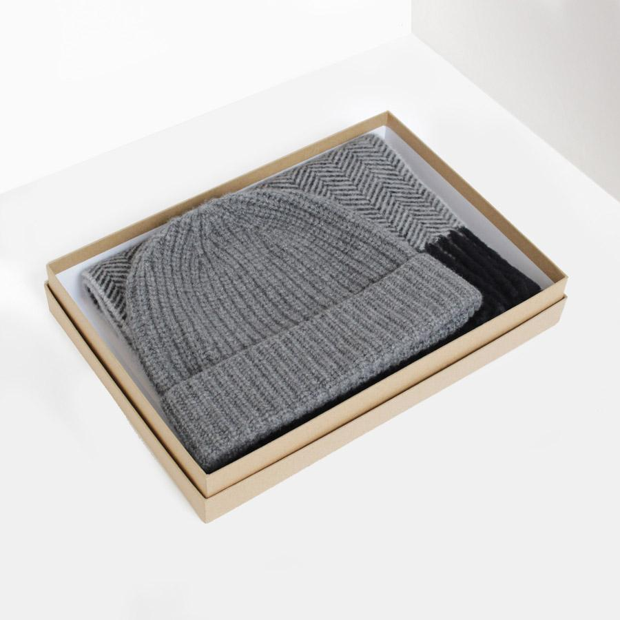 Grey Cashmere Hat & Scarf Gift Box