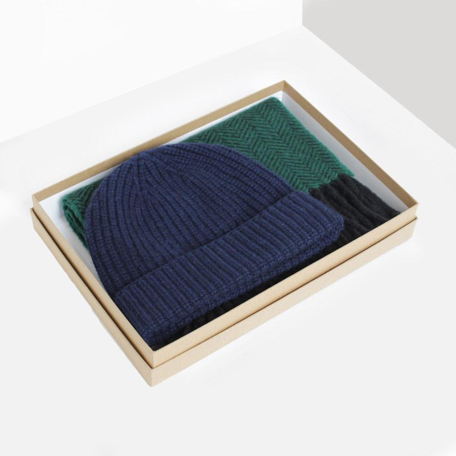 Navy/Green Cashmere Hat & Scarf Gift Box