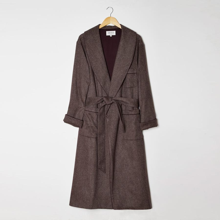 Brown Mottled Dressing Gown - Wool Blend, Dressing Gowns - SIRPLUS