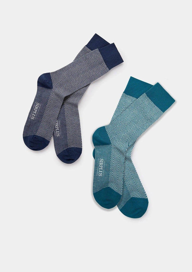 Teal Herringbone Socks