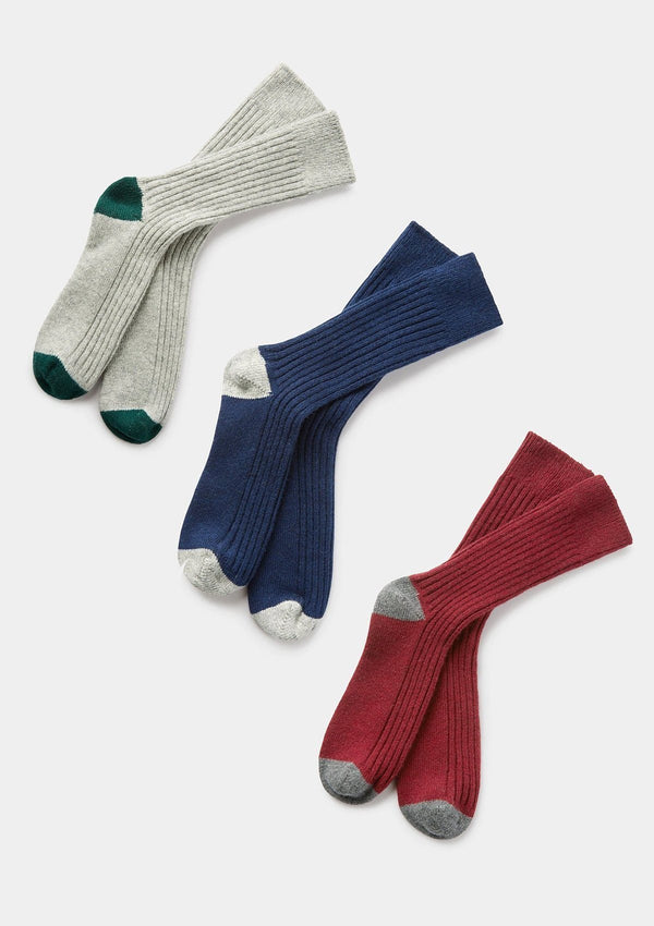 Burgundy Ribbed Wool Cashmere Socks